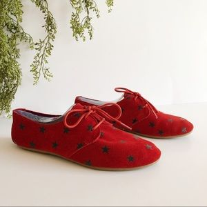 Skechers BOBS Red Suede Star Pattern Lace Up Flats
